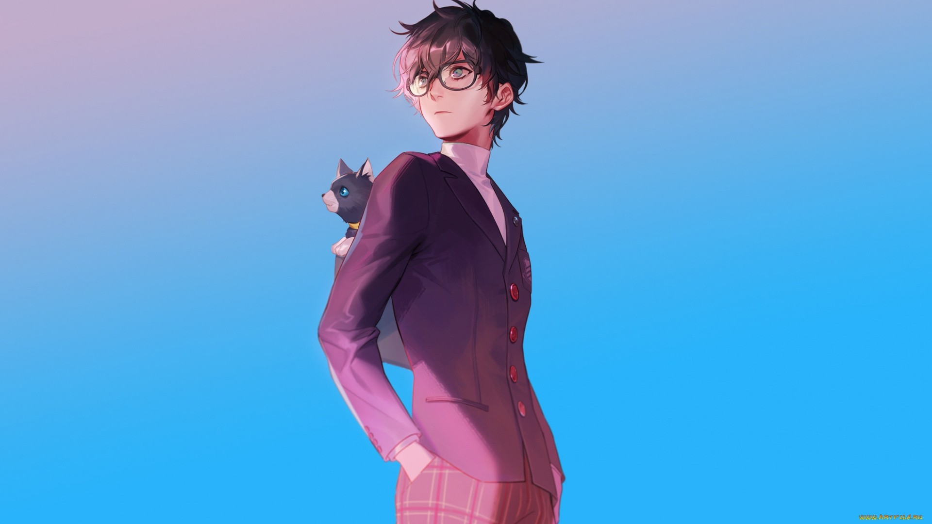 Anime Guy With Glasses Free Wallpaper and Background