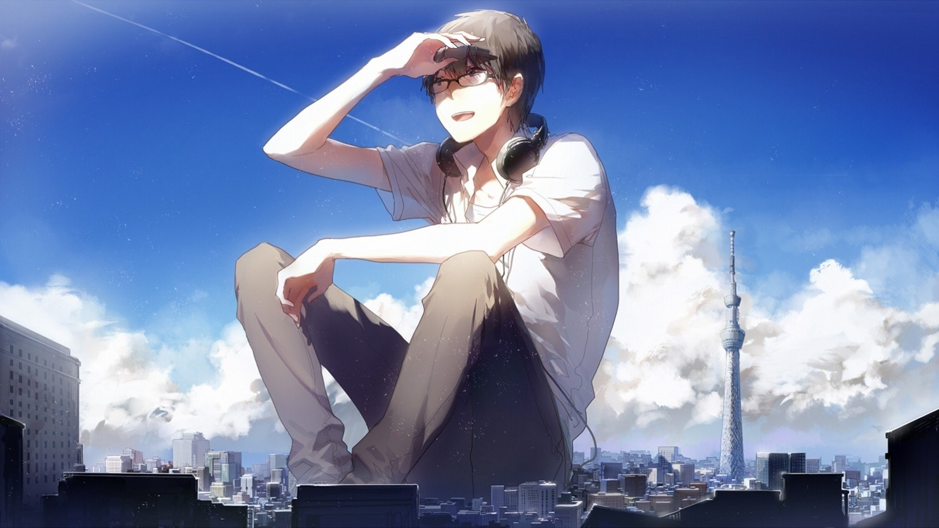 Anime Guy With Glasses Free Wallpaper