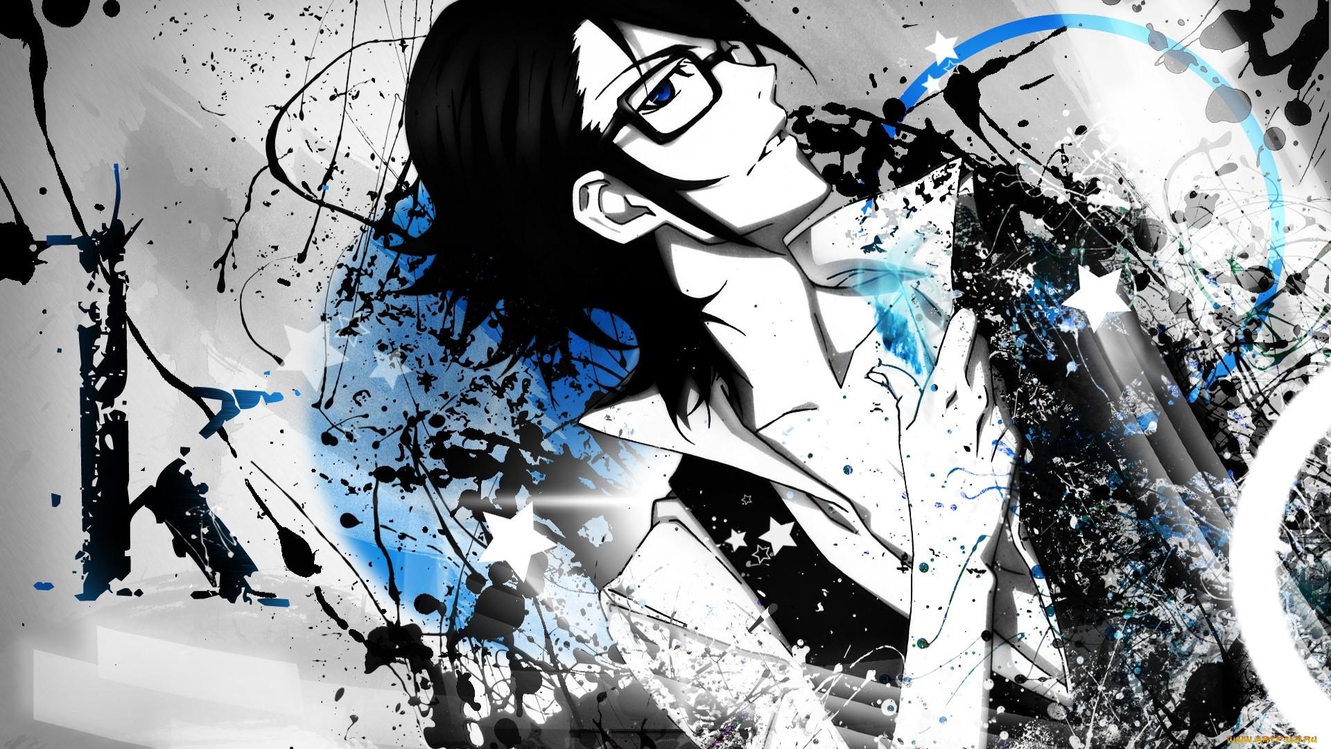 Anime Guy With Glasses Full HD Wallpaper