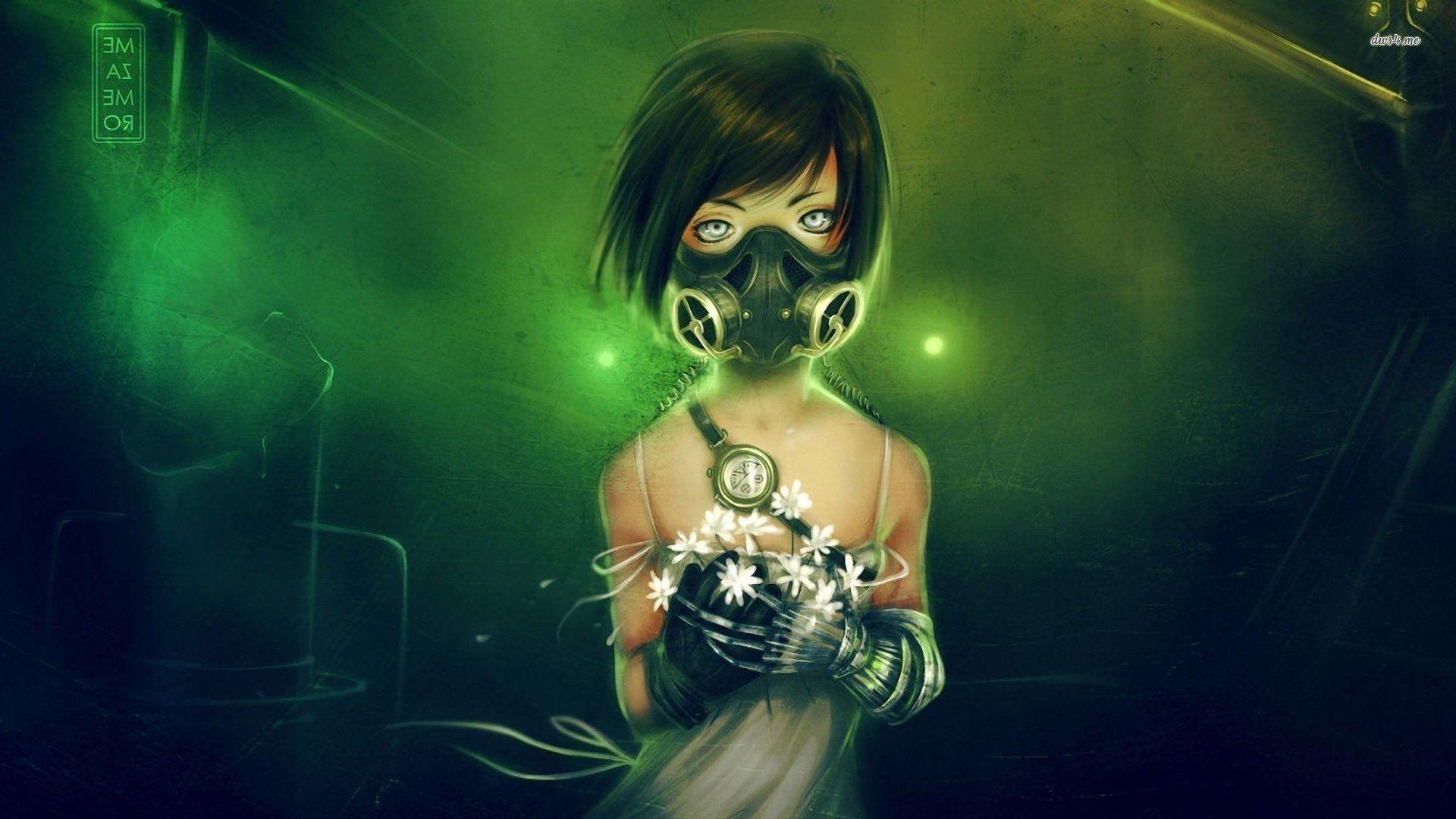 Anime Girl With Gas Mask Desktop Wallpaper