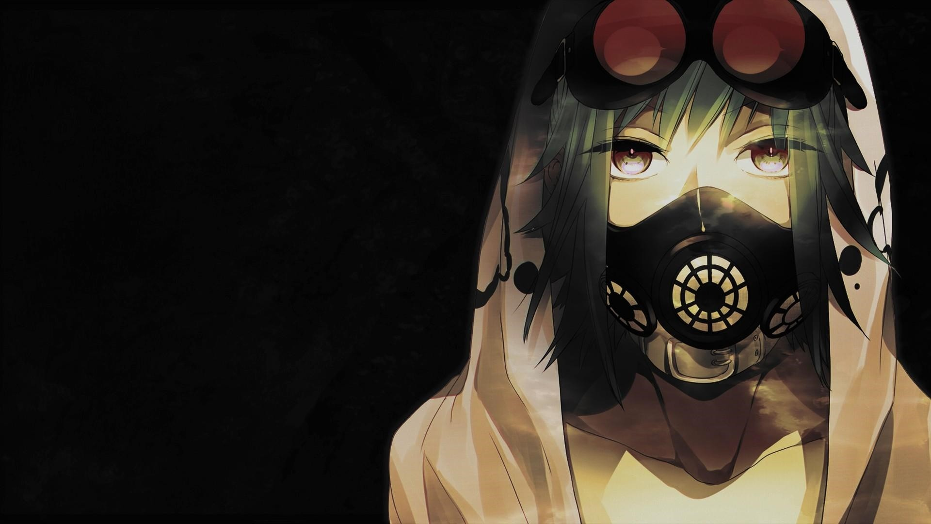 Anime Girl With Gas Mask PC Wallpaper
