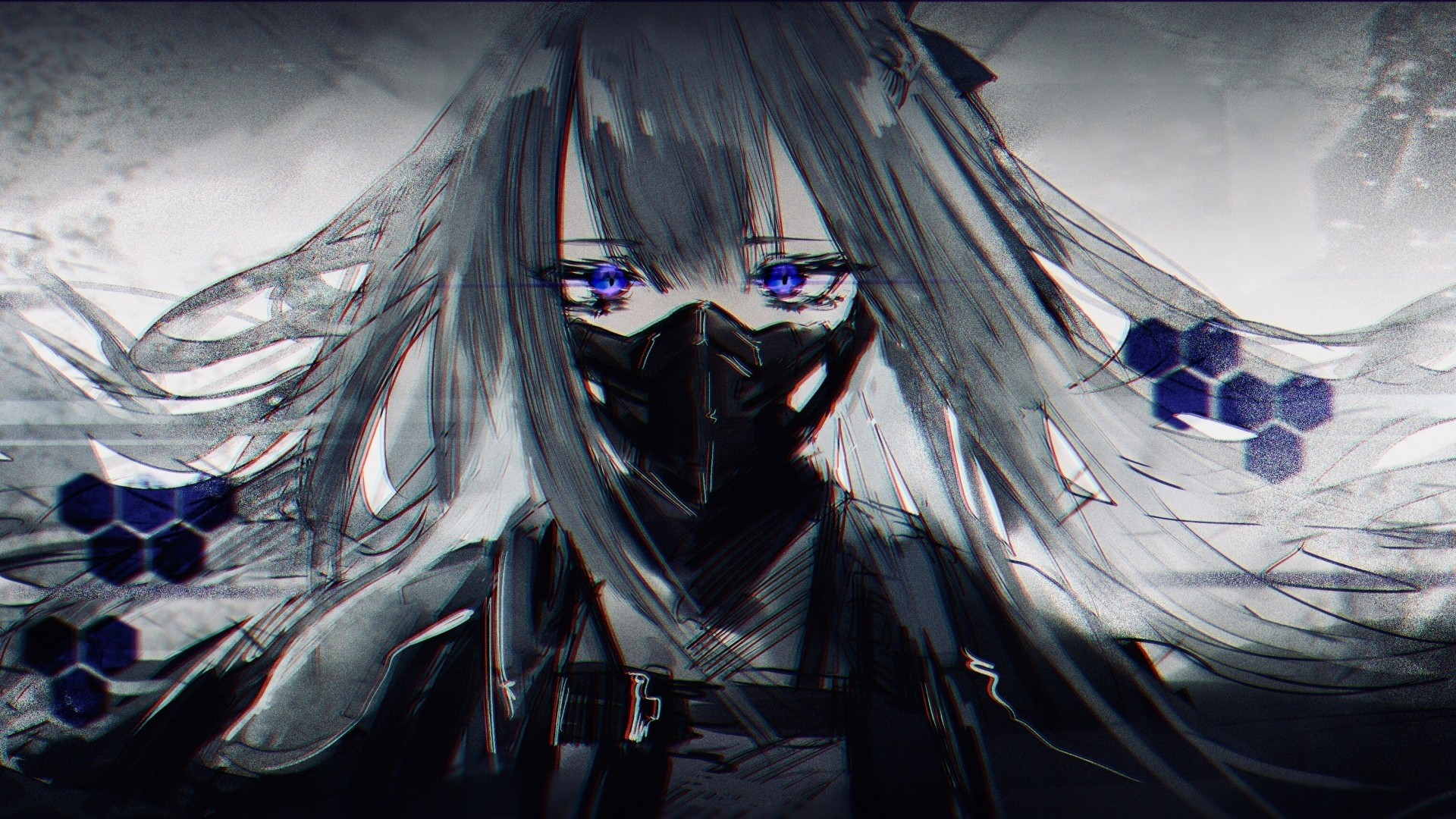 Anime Girl With Gas Mask Free Wallpaper and Background