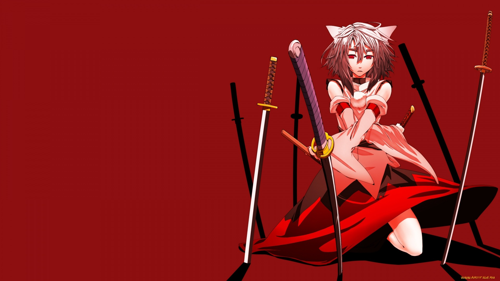 Red Anime Girl Background