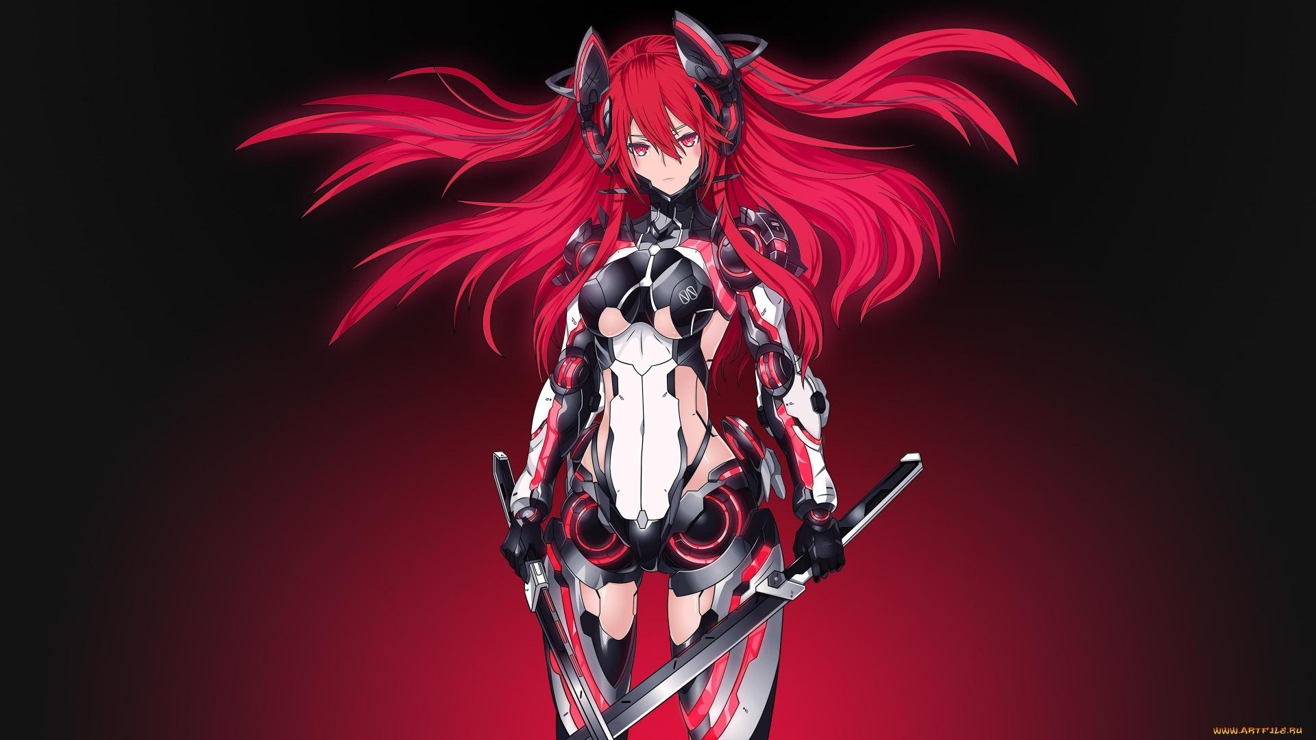 Red Anime Girl Full HD Wallpaper