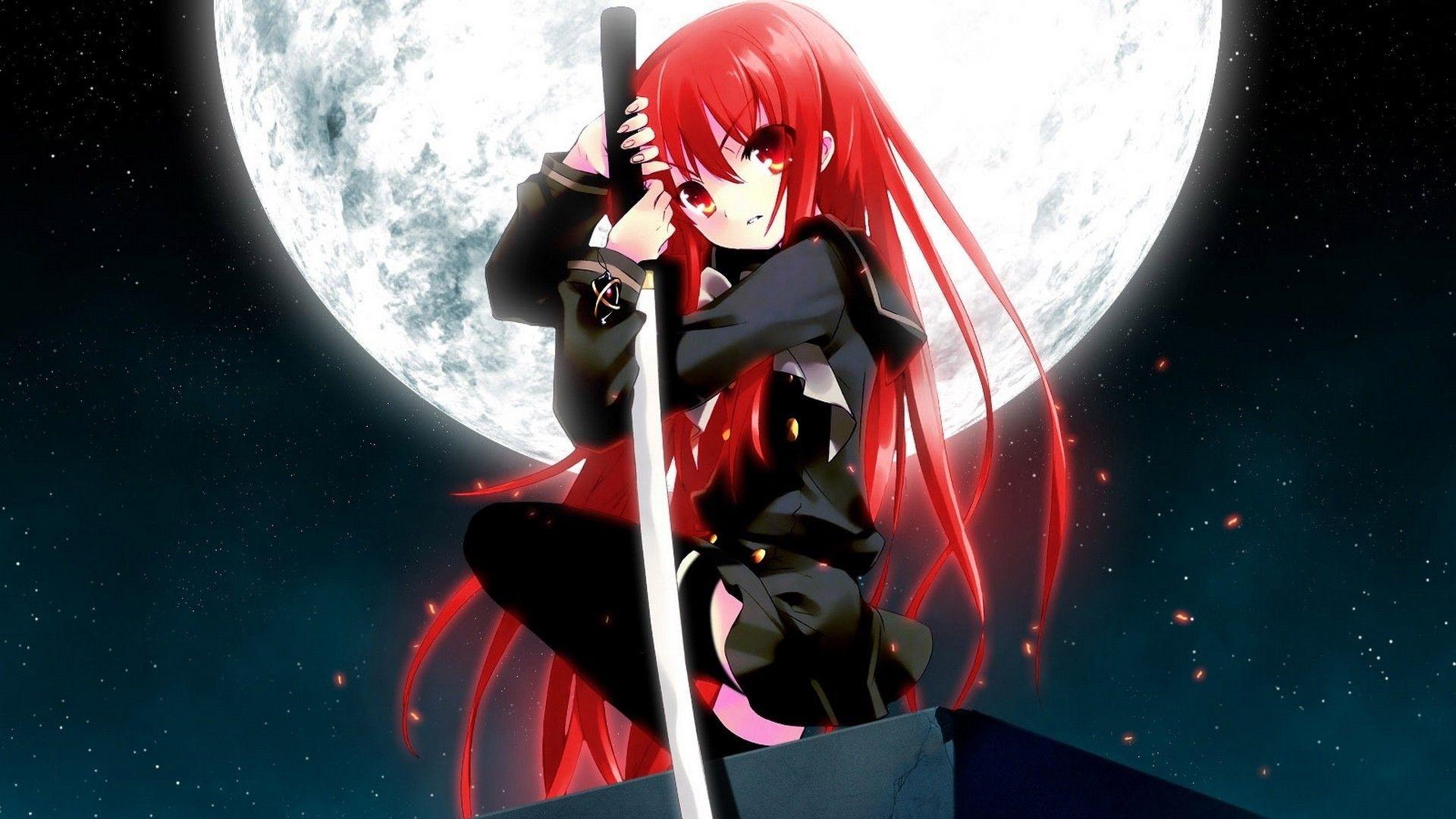 Red Anime Girl Free Wallpaper