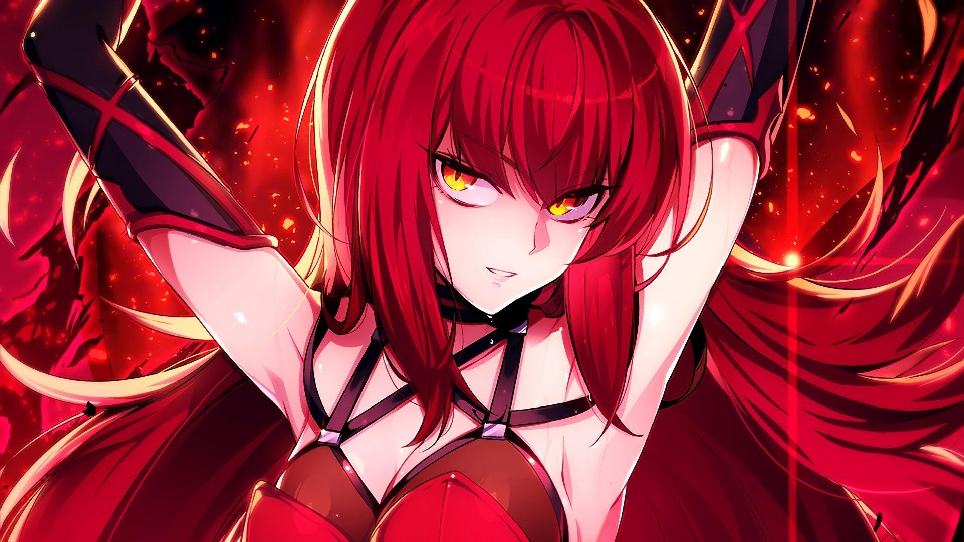 Red Anime Girl hd desktop wallpaper