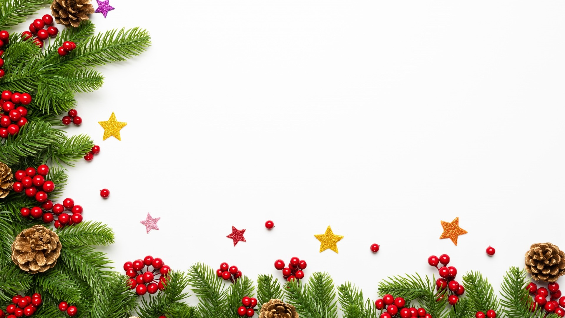 New Year Branch Frame Wallpaper image hd