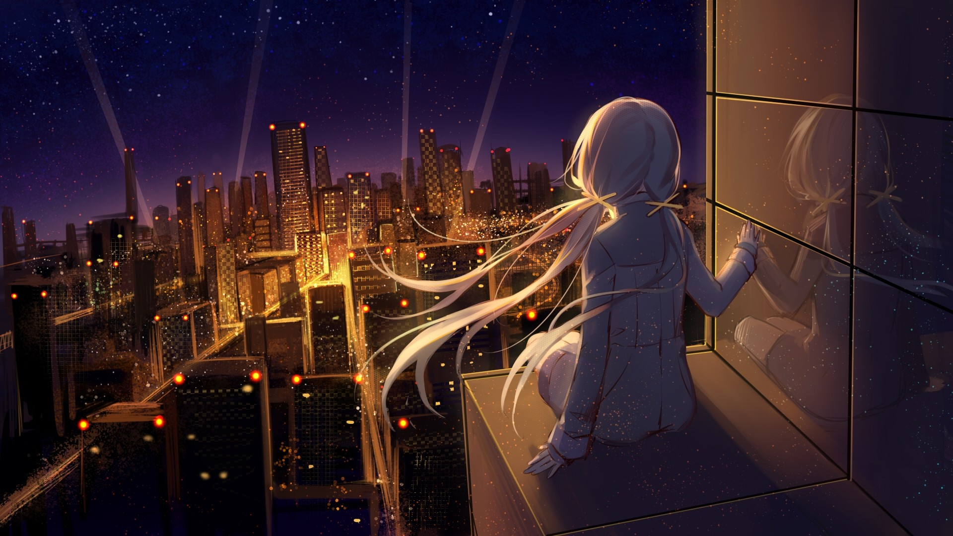 Night Anime Girl Image