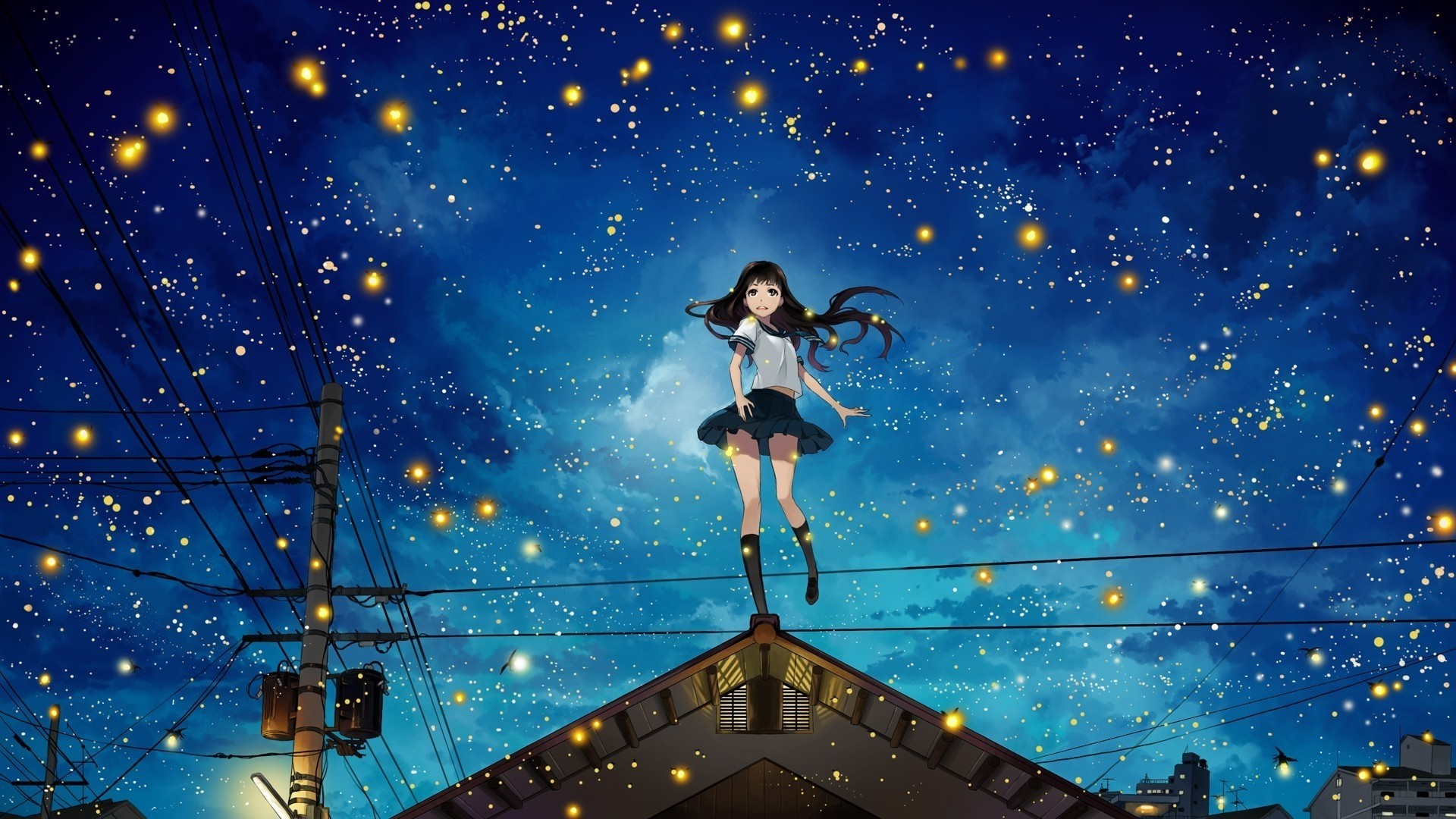 Night Anime Girl Free Wallpaper and Background