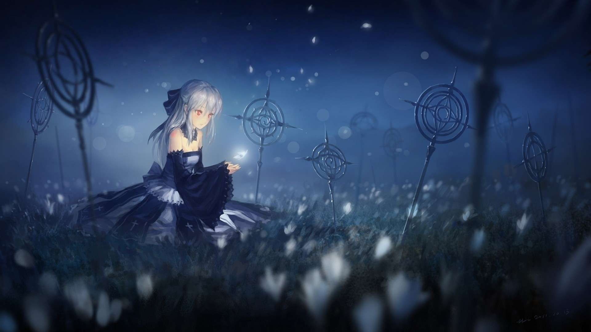 Night Anime Girl PC Wallpaper HD
