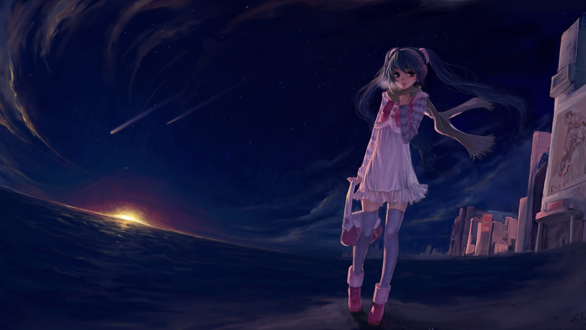 Night Anime Girl HD Download