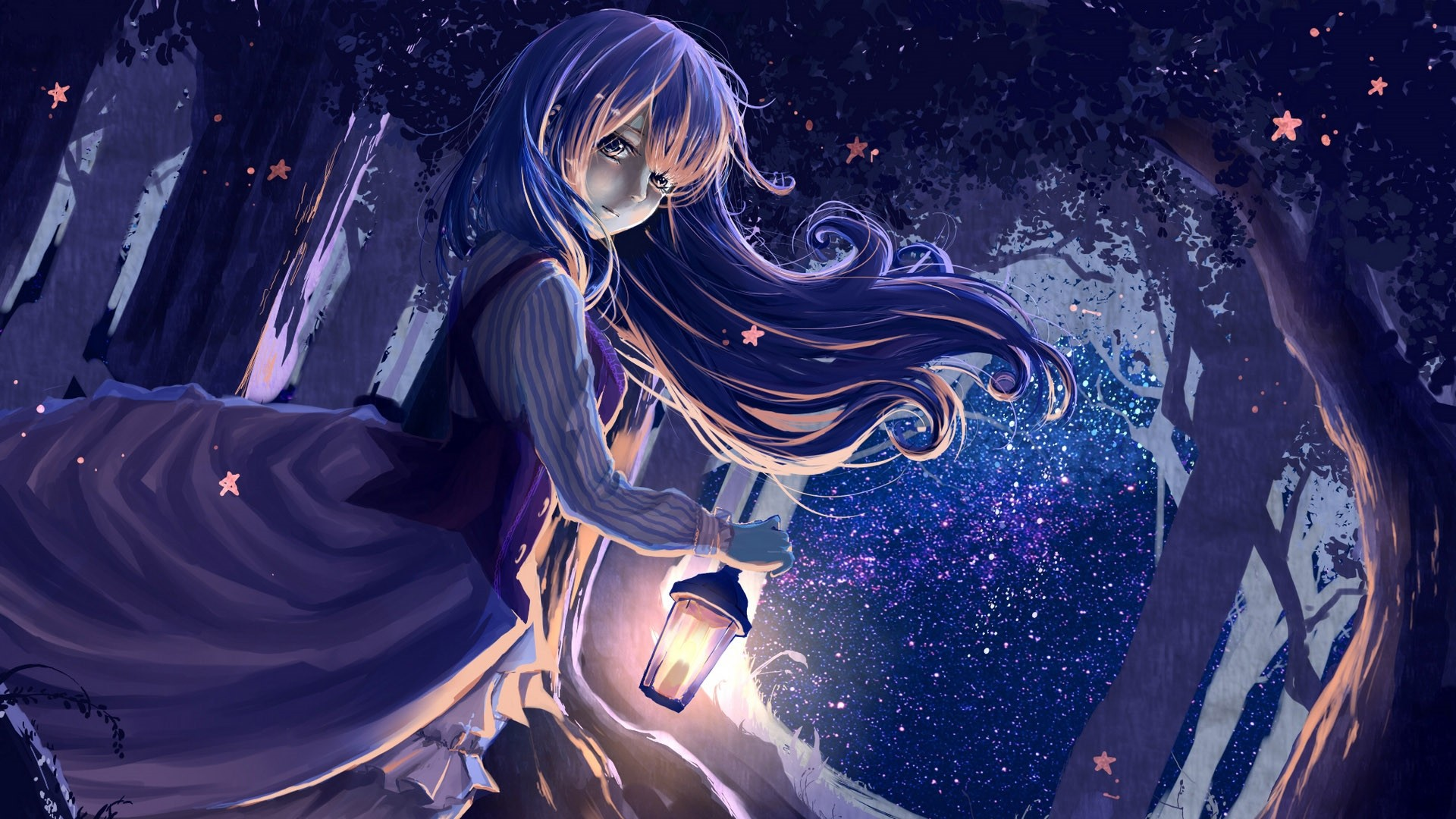 Night Anime Girl hd wallpaper download