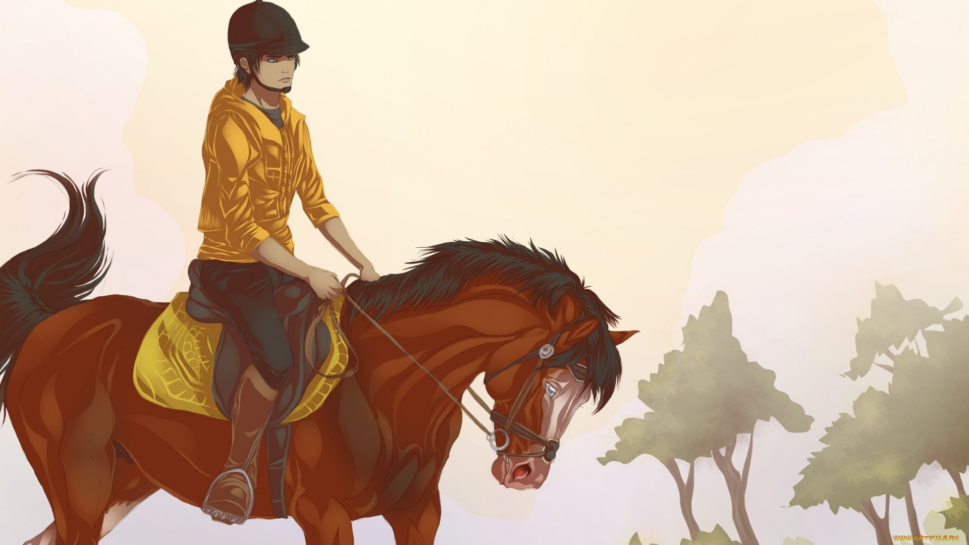 Rider On A Horse Art wallpaper photo hd