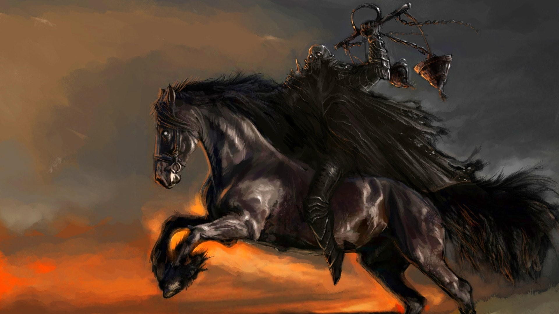 Rider On A Horse Art Wallpaper image hd