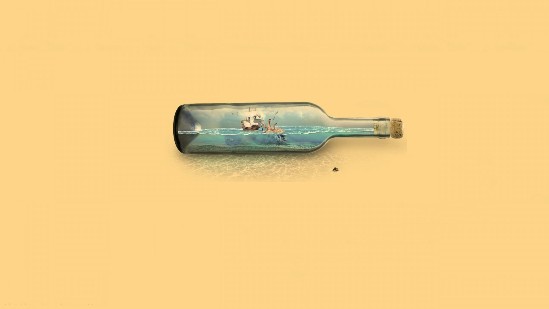 Ship In A Bottle Wallpaper theme