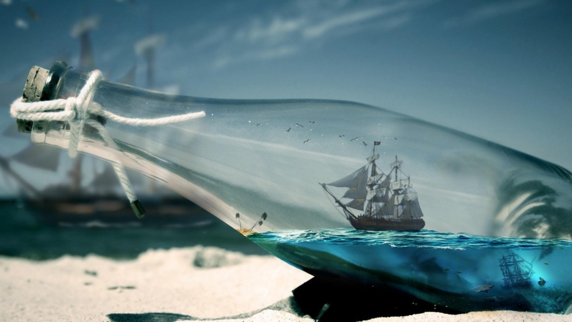 Ship In A Bottle Free Wallpaper and Background