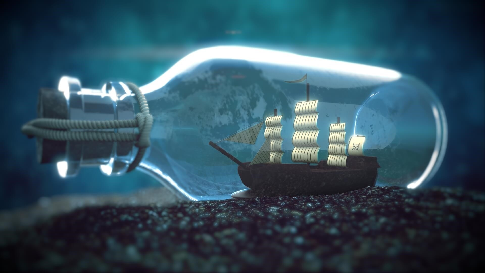 Ship In A Bottle HD Wallpaper
