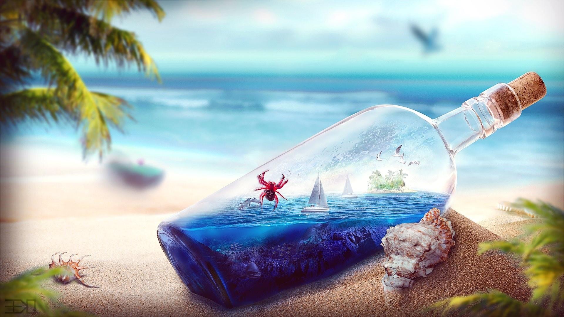 Ship In A Bottle Background Wallpaper