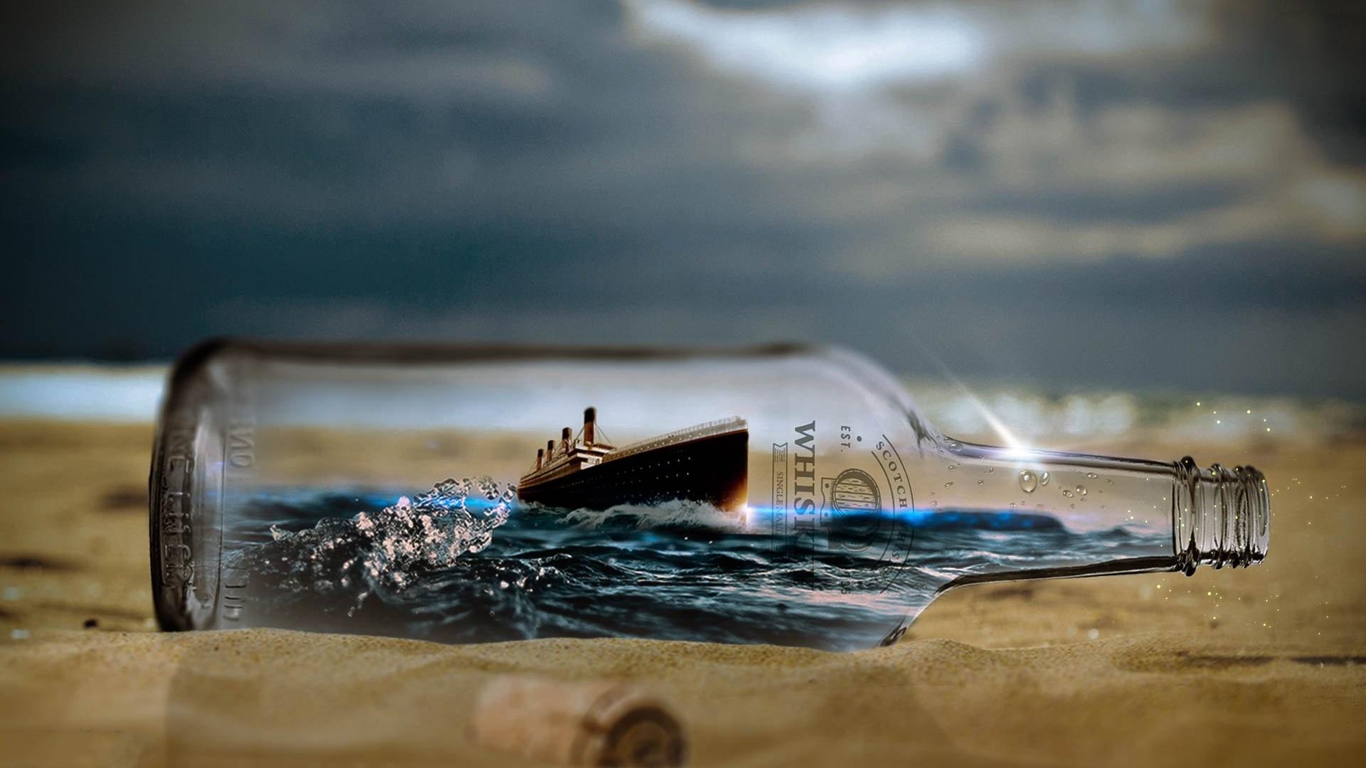 Ship In A Bottle hd desktop wallpaper