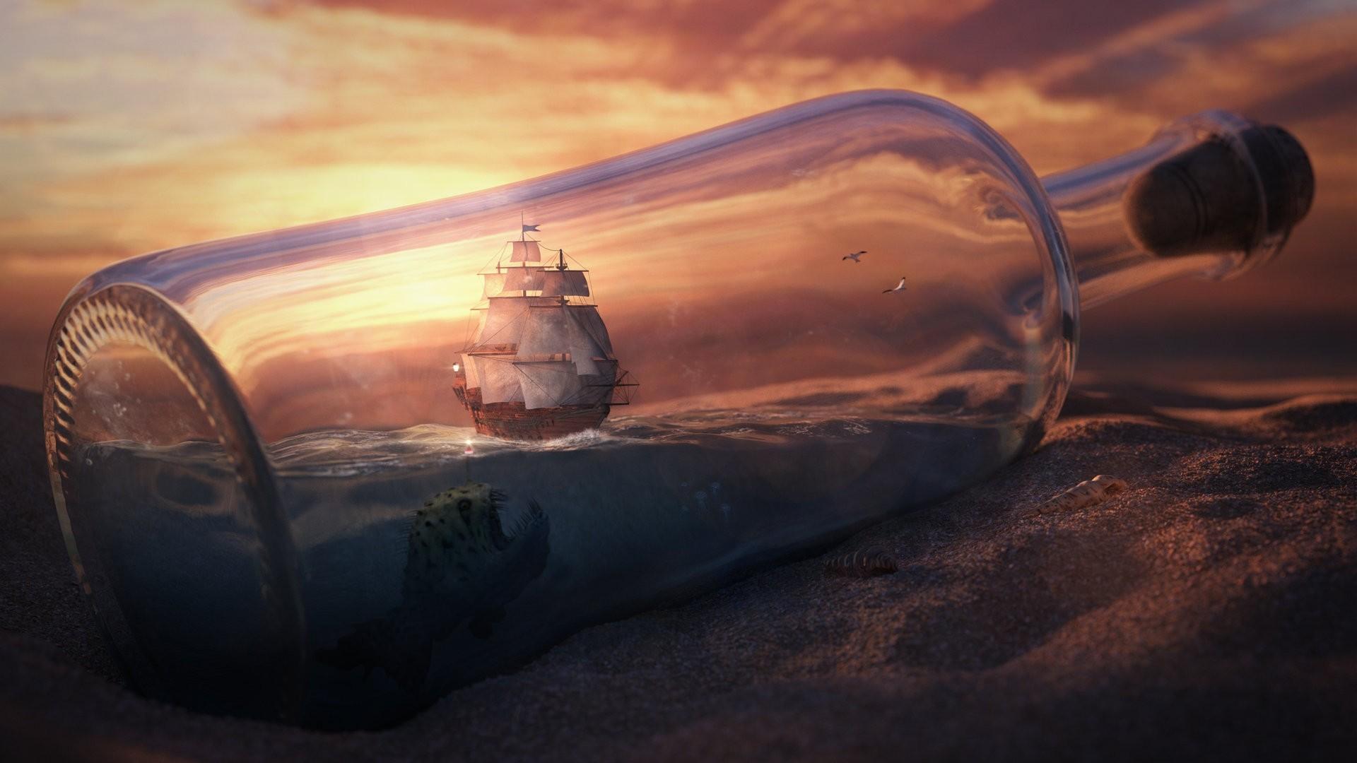 Ship In A Bottle Wallpaper