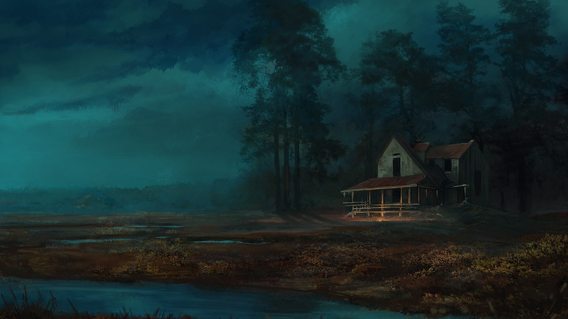 House By The River Art Wallpaper