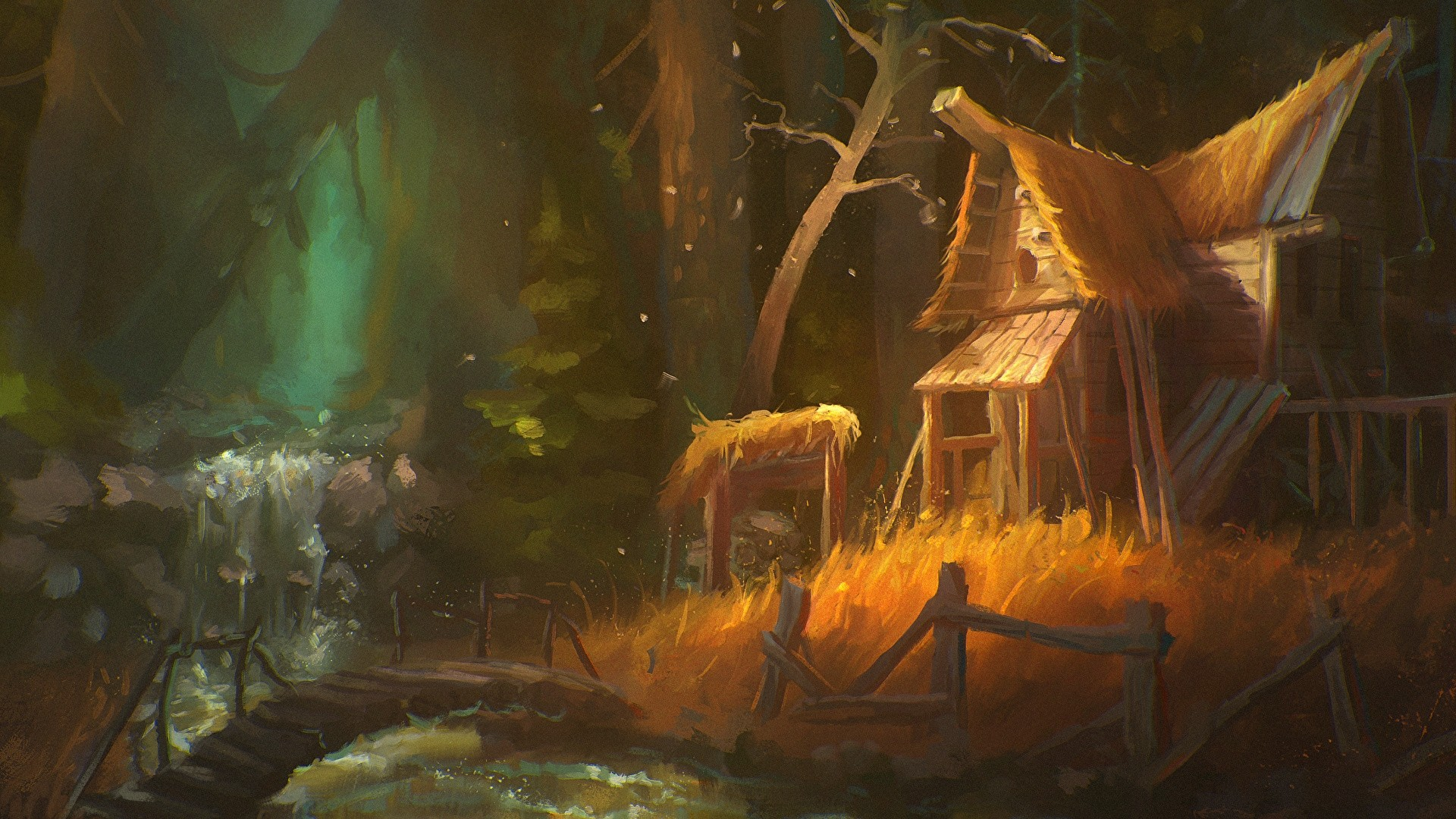 House By The River Art Full HD Wallpaper