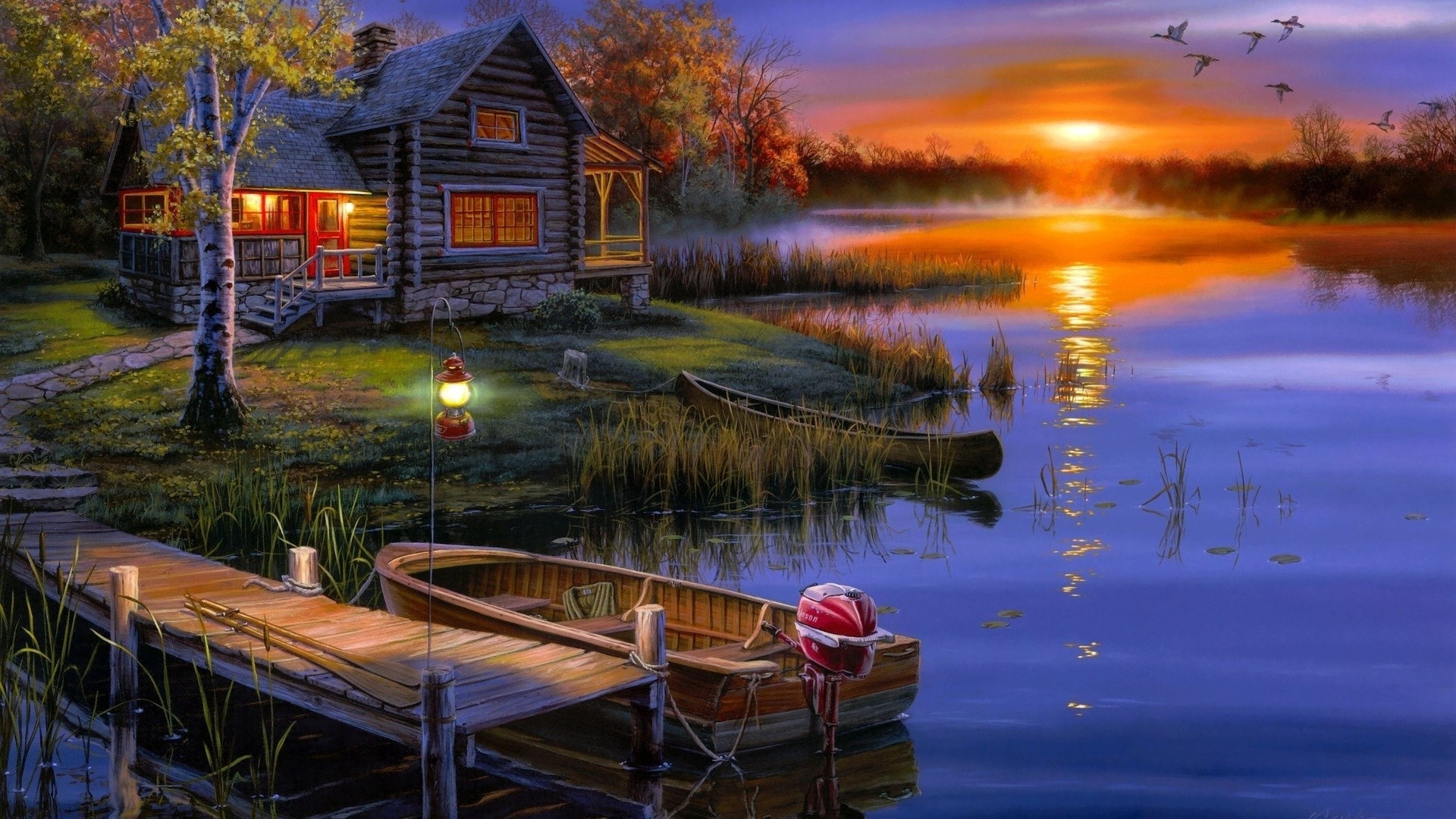 House By The River Art Background Wallpaper