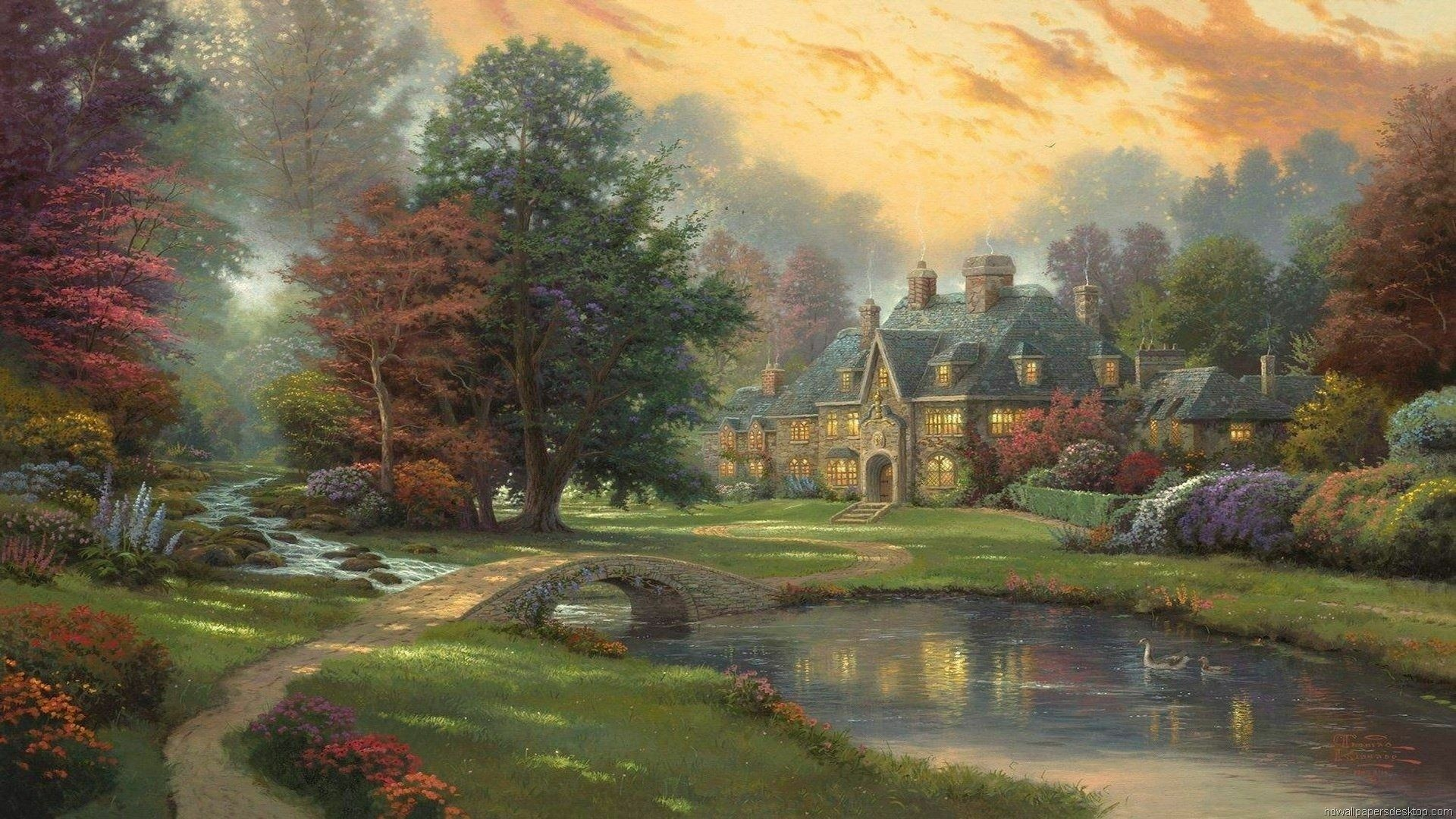 House By The River Art a wallpaper