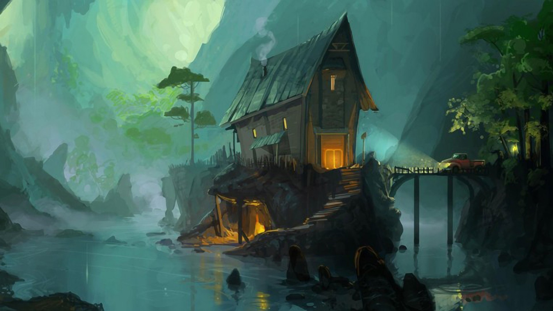 House By The River Art computer wallpaper