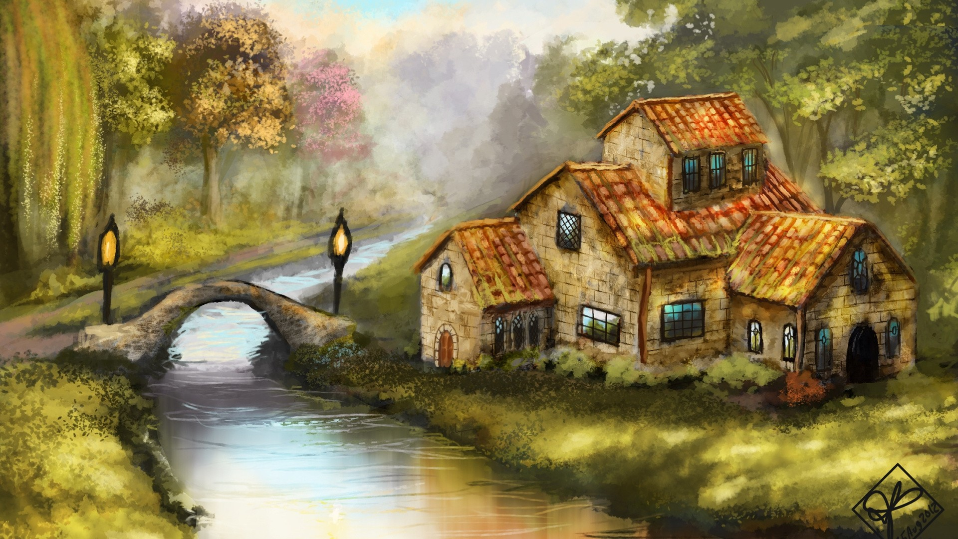 House By The River Art Wallpaper image hd