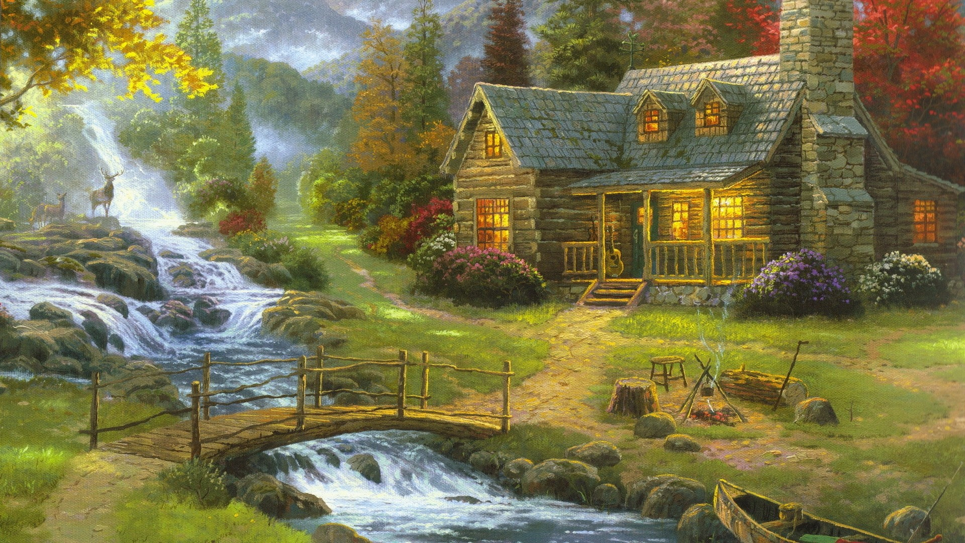House By The River Art Background