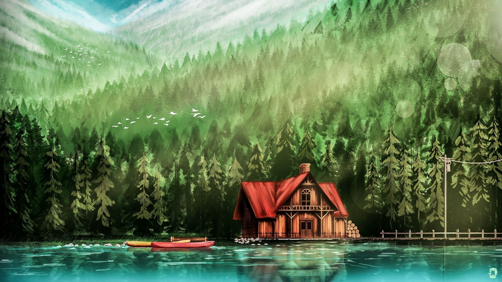 House By The River Art PC Wallpaper