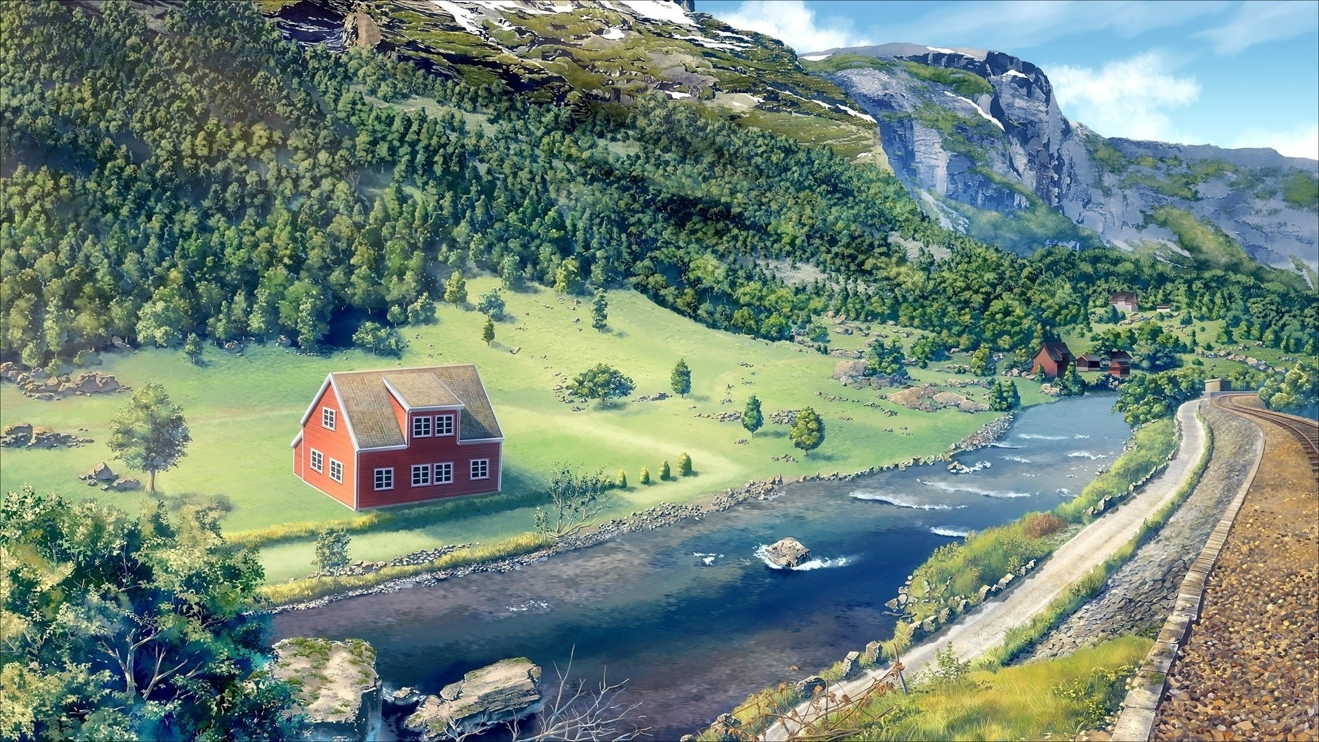 House By The River Art Desktop Wallpaper