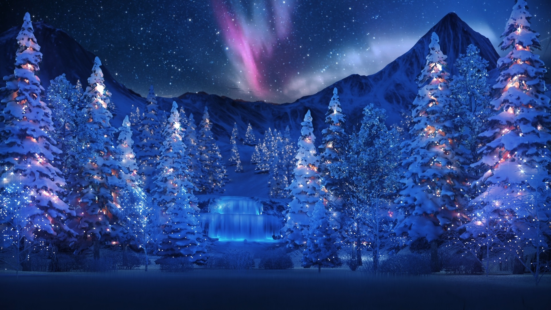 Winter New Year's Evening Wallpaper
