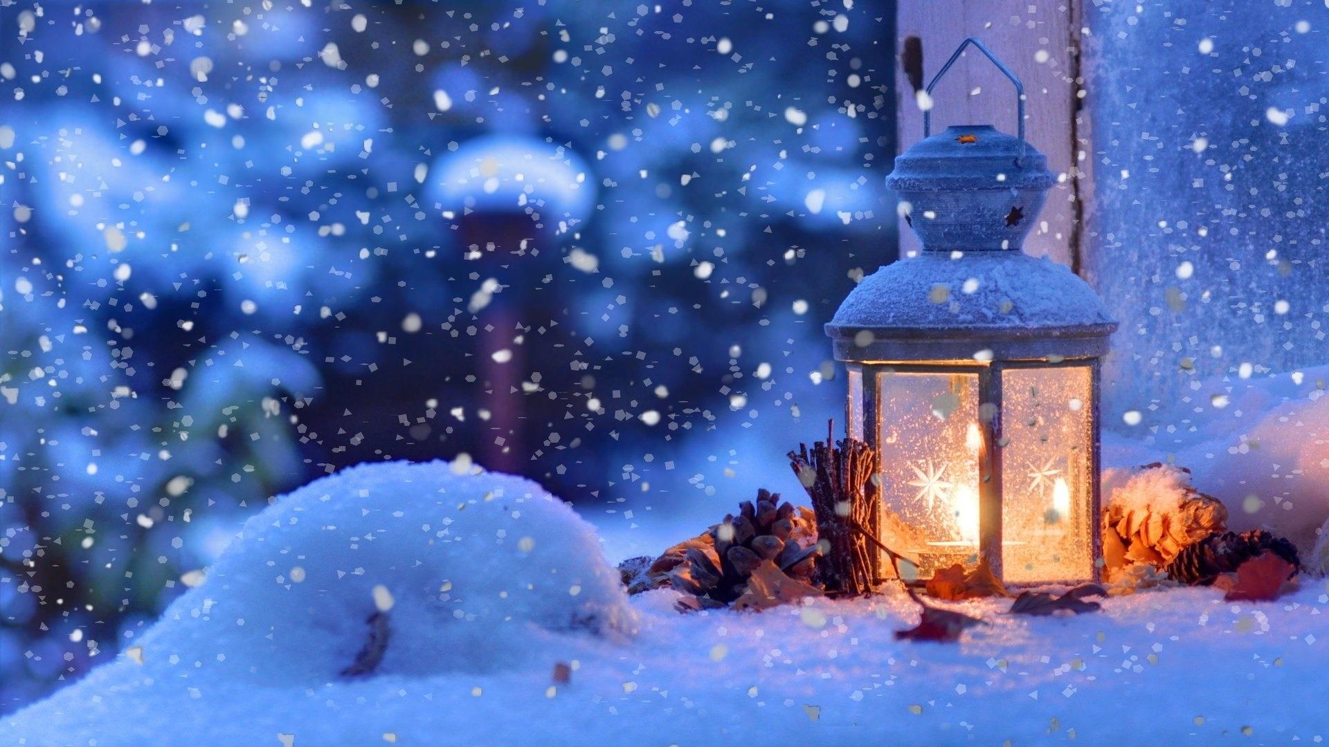 Winter New Year's Evening Desktop Wallpaper
