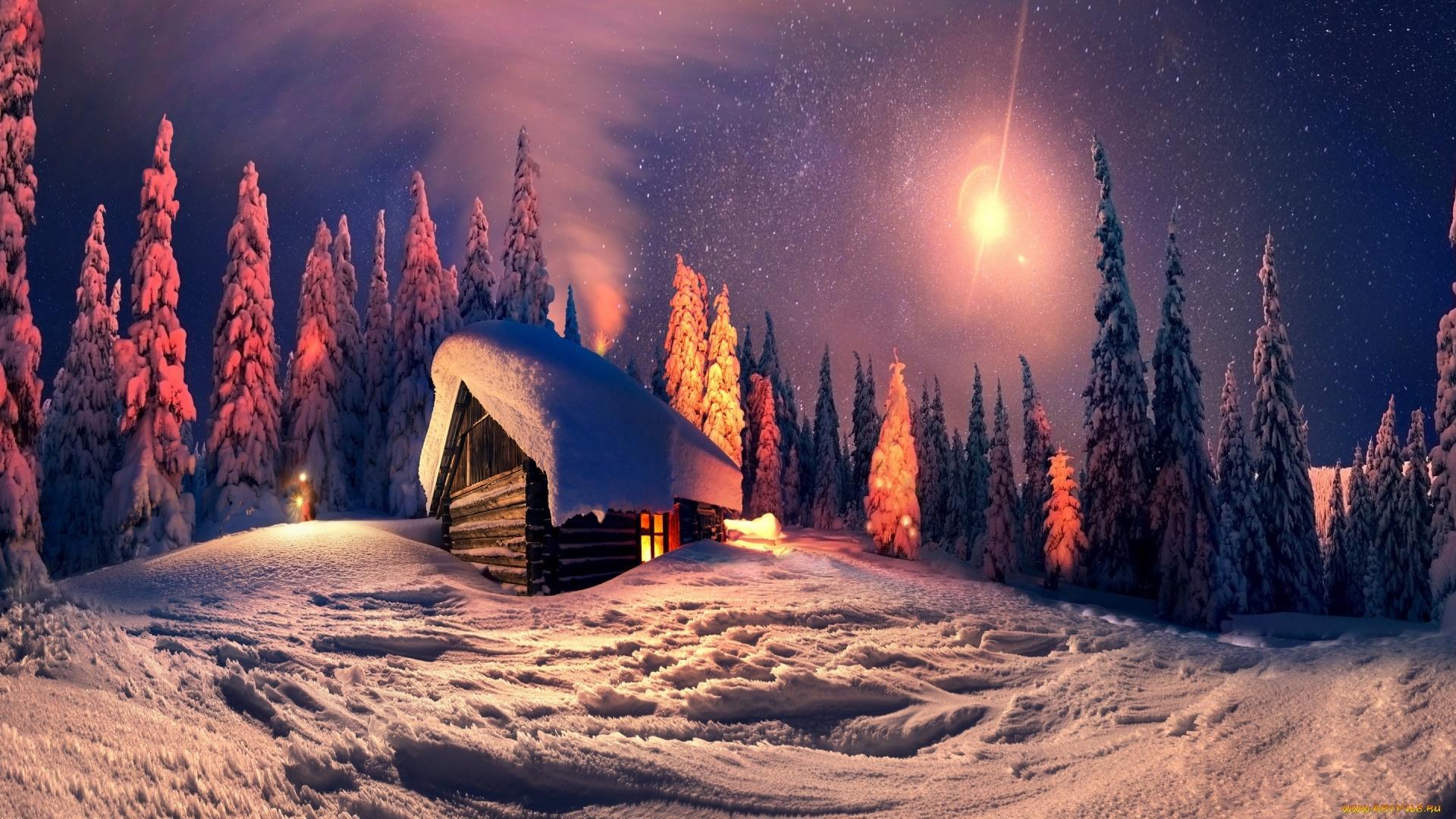 Winter New Year's Evening HD Wallpaper
