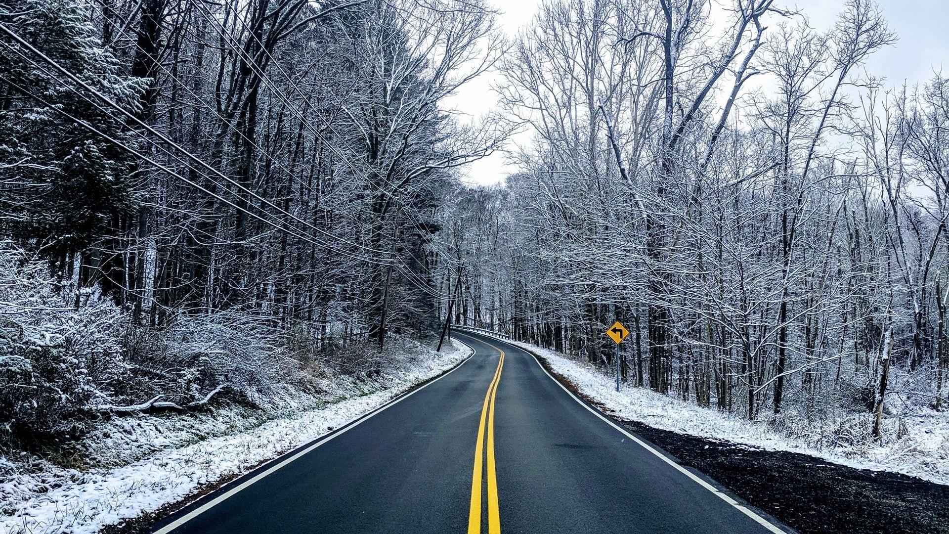 Winter Road Desktop Wallpaper