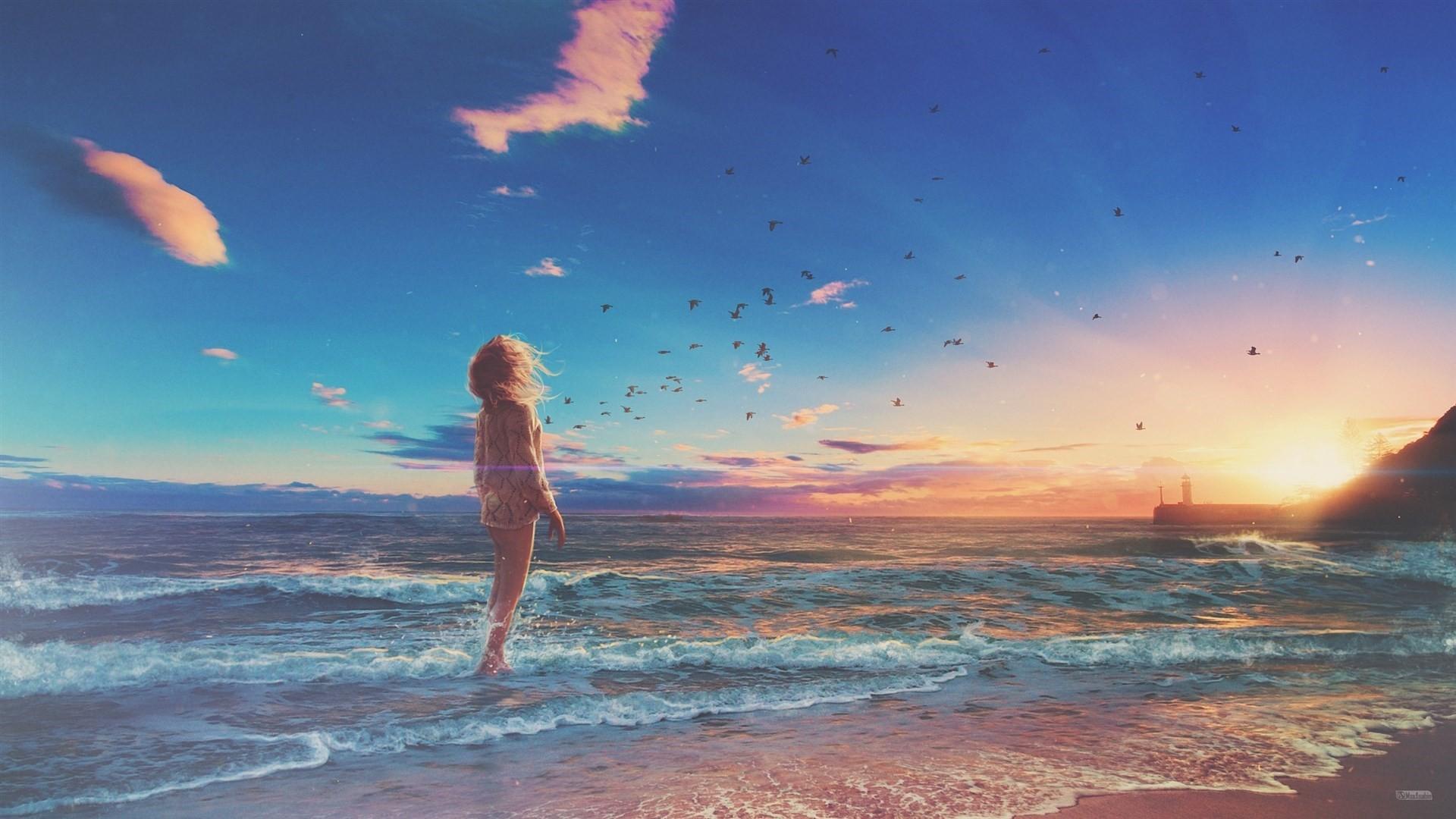 Anime Beach desktop wallpaper hd
