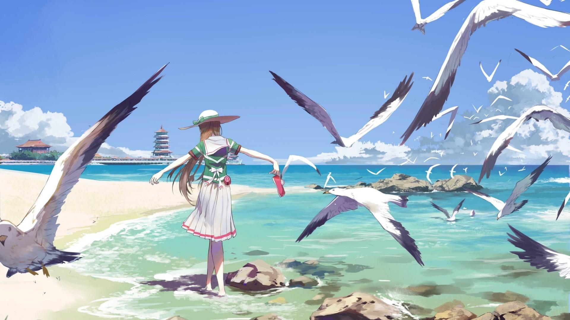 Anime Beach wallpaper for computer