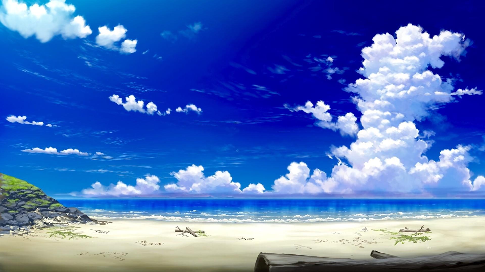 Anime Beach computer wallpaper
