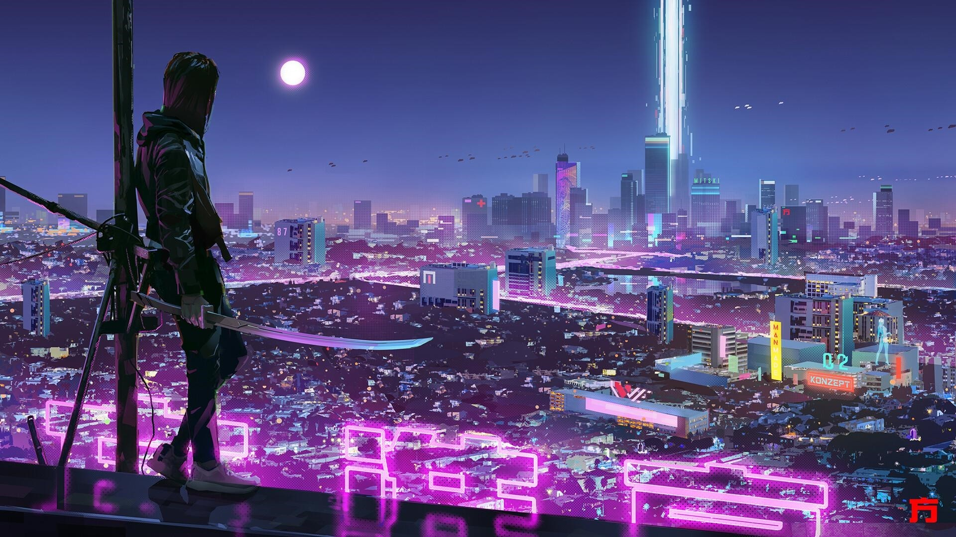 Anime Night Neon Picture