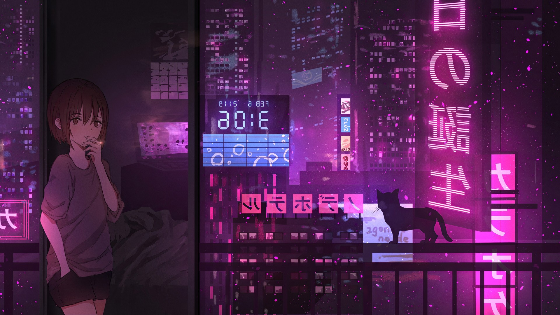 Anime Night Neon wallpaper for pc