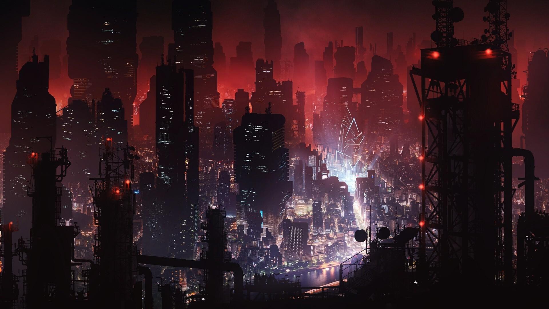 Cyberpunk City Art desktop wallpaper hd
