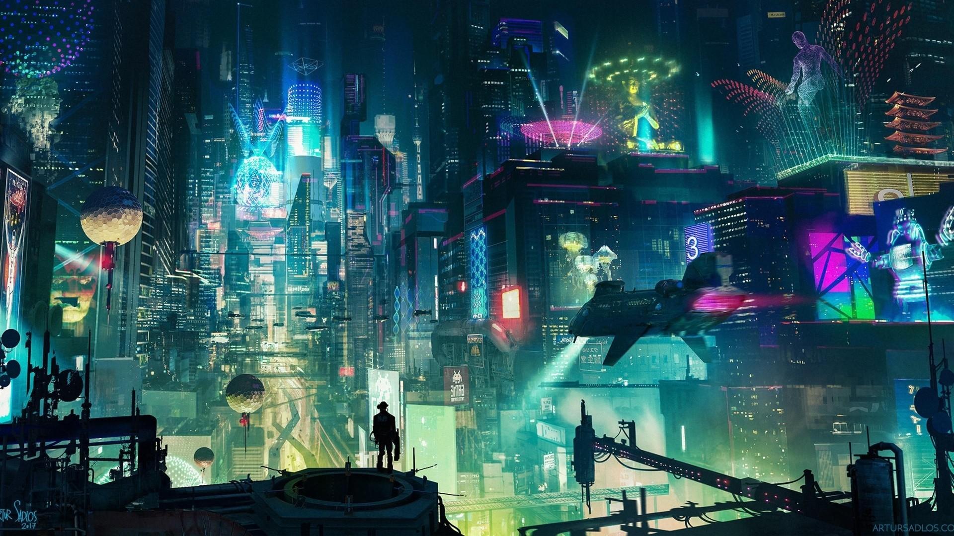 Cyberpunk City Art wallpaper for pc