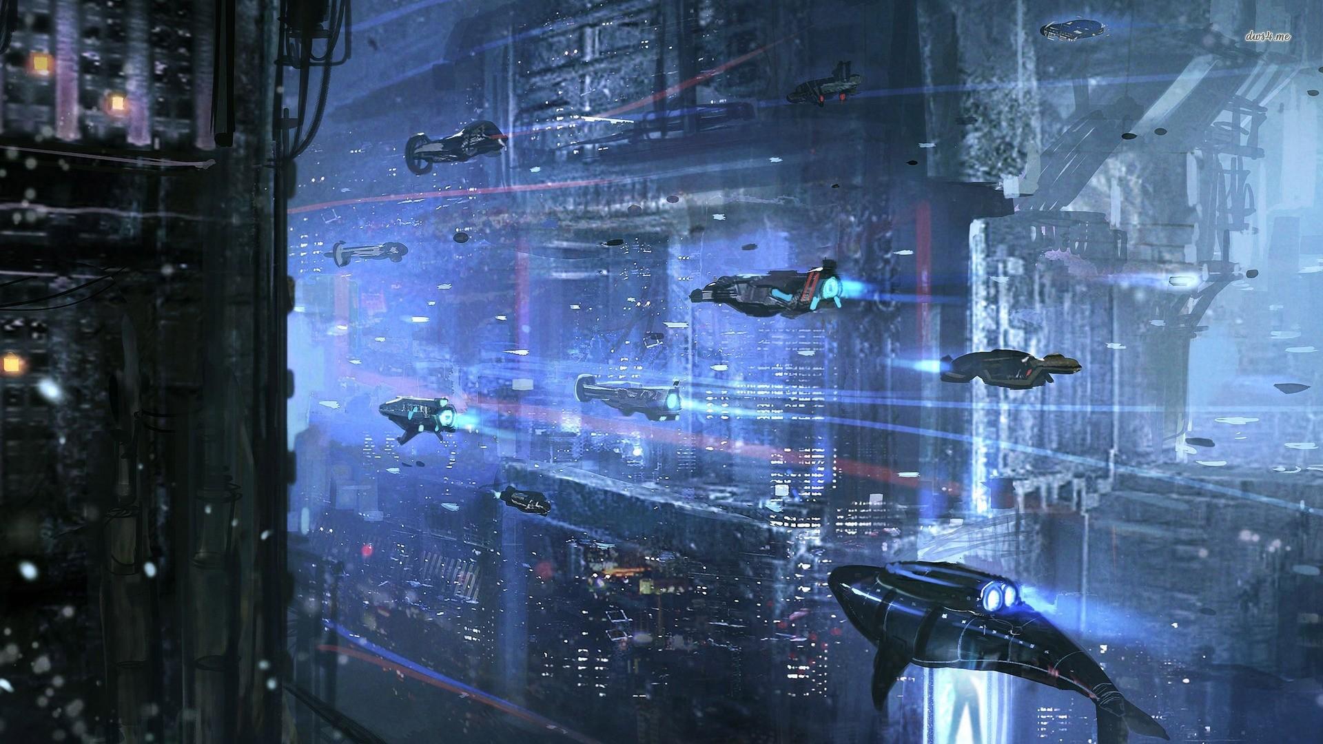 Cyberpunk City Art computer wallpaper
