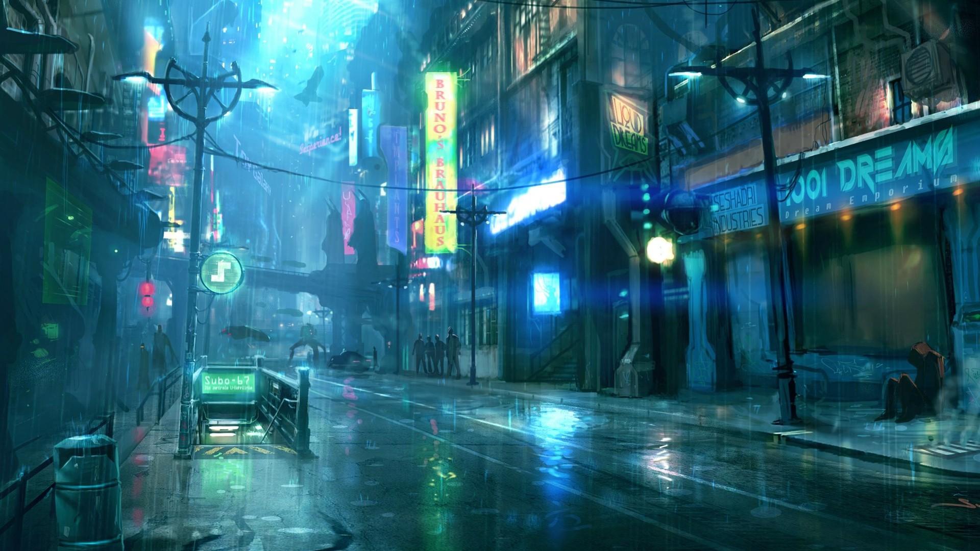 Cyberpunk City Art wallpaper for computer