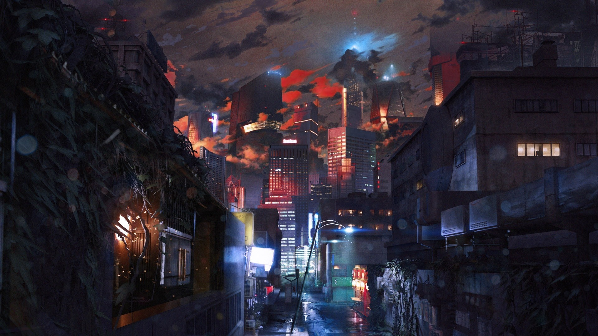 Cyberpunk City Art Desktop Wallpaper