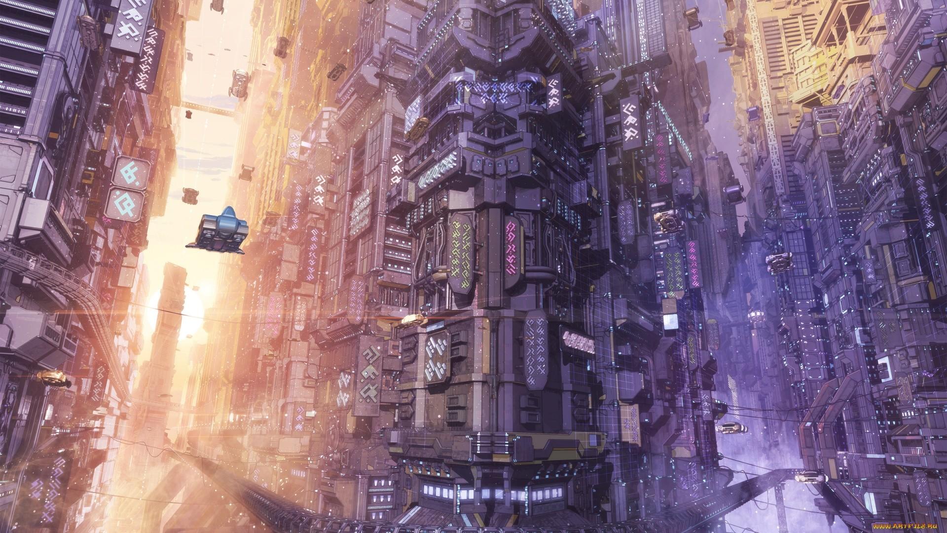 Cyberpunk City Art wallpaper photo hd