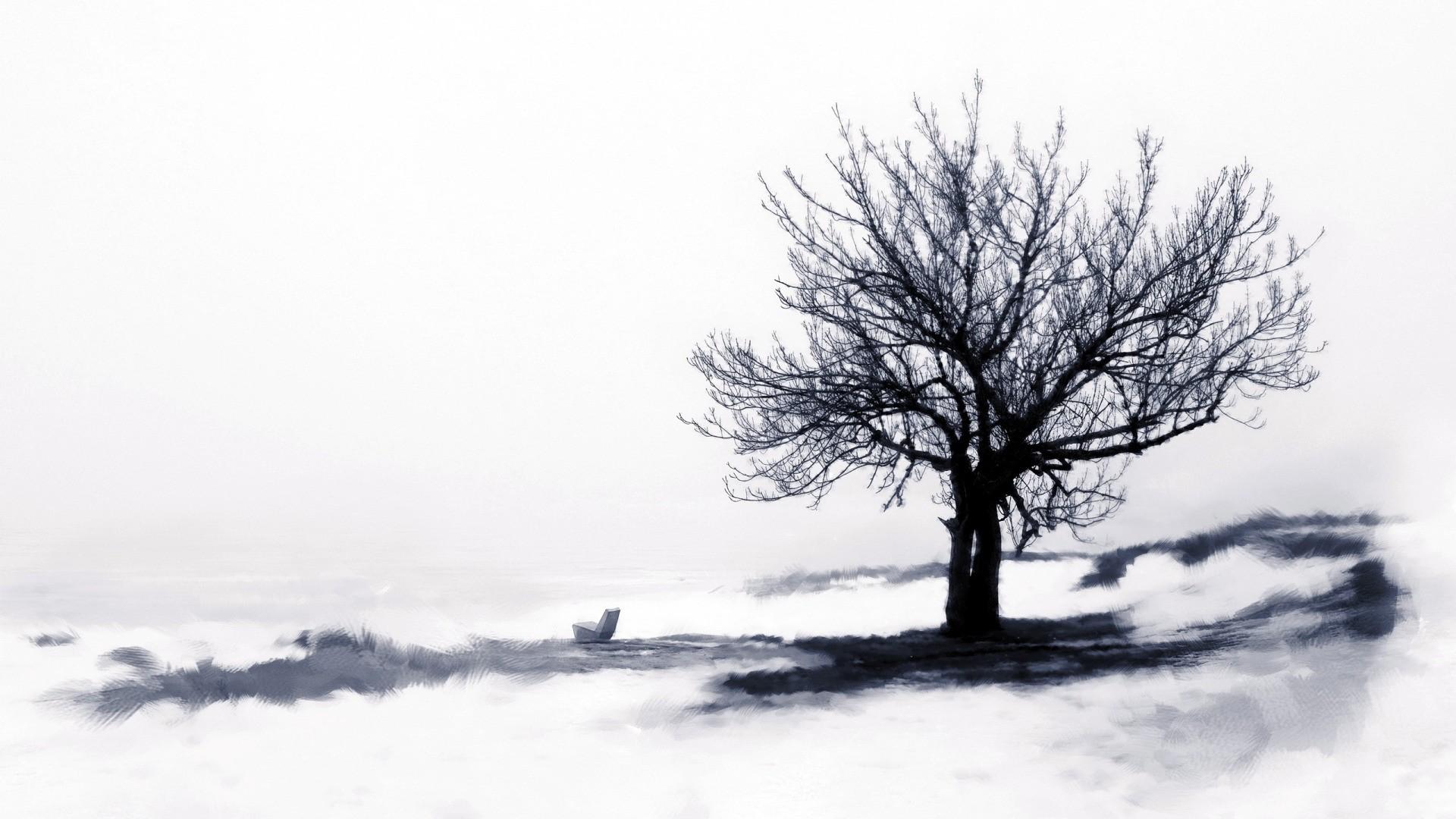 Lonely Trees Minimalist Background