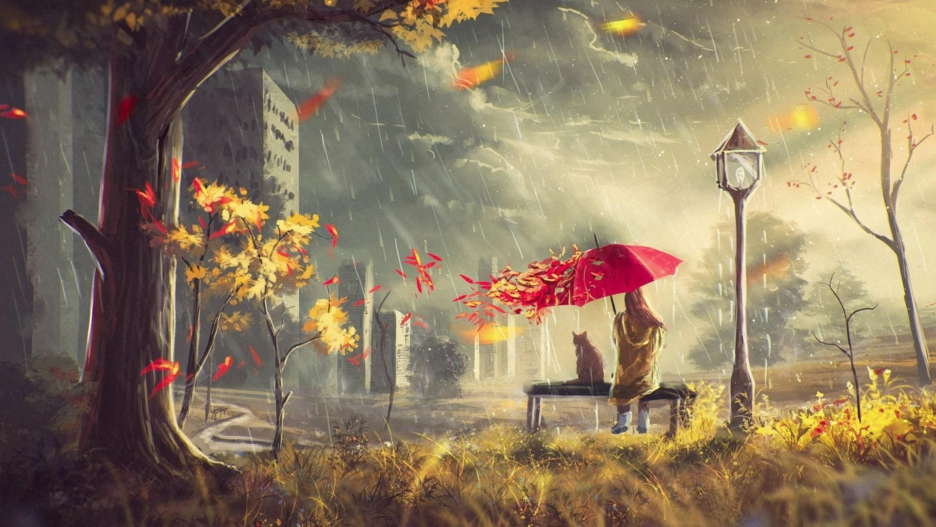 Rain Art Wallpaper theme